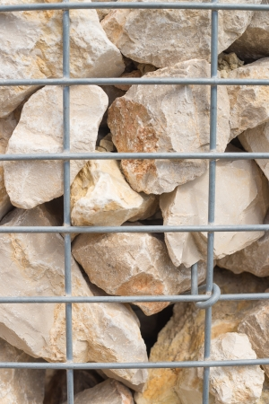 retaining: Gabion retaining wall, rocks held together with wire