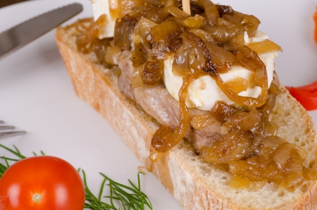 Pork loin with goat cheese and caramelized onions, Spanish tapa Stockfoto