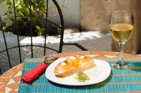 andalusian cuisine: Tapa served on a sunny Andalusian bar terrace