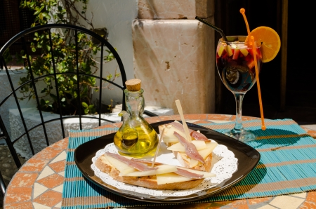 andalusian cuisine: A traditional Spanish tapa on a sunny bar terrace Stock Photo