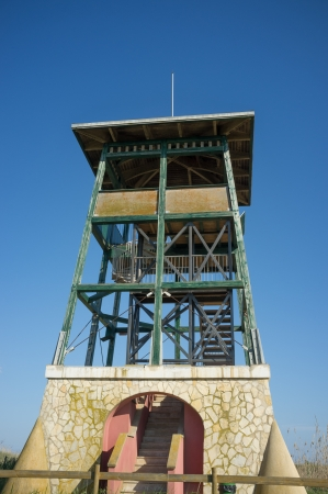meant: Watchtower meant for wildlife observation in a natural park Stock Photo