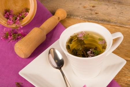 valerian: Still life  with a freshly prepared valerian tea