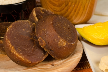 food staple: Panela, raw brown sugar, a South American food staple Stock Photo