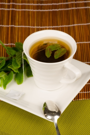 Green tea enhanced with aromatic mint leaves photo