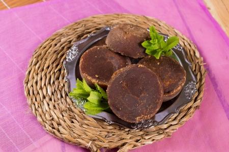 panela: Raw brown sugar, known as panela in Latin America Stock Photo
