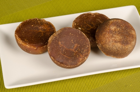 panela: Several pieces of panela, raw brown sugar as used in Latin American cuisine