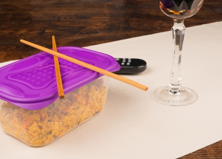 leftovers: Leftovers dinner out of the  food box, a bachelor meal Stock Photo