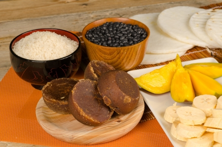 panela: A still life with some of the classic Latin food staples