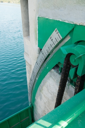 Water level gauge on a reservoir sluicegate photo