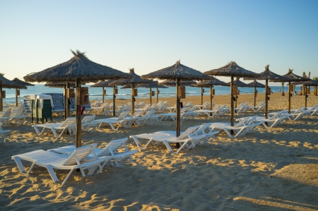 sunshades: Sunshades and deckchairs waiting for tourist in the early morning