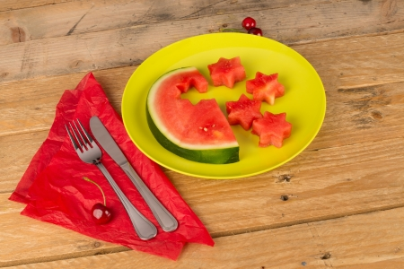 Star shaped cutouts, a way to make fruit attractive for children