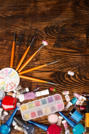 Nail art still life with assorted cosmetic objects