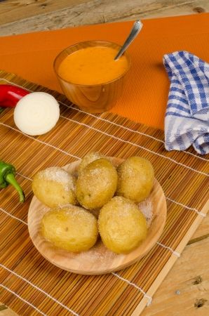 mojo: Mojo sauce served with baked potatoes, Canarian cuisine