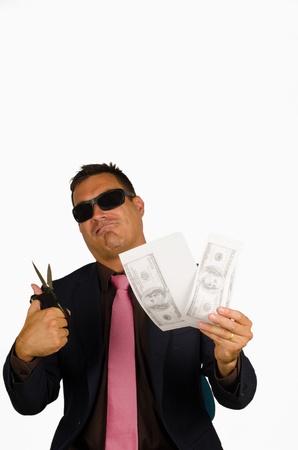 counterfeiting: Macho type of guy counterfeiting dollar bank notes