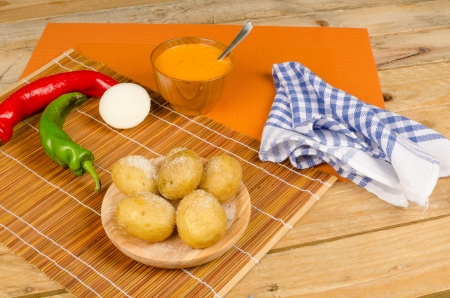 mojo: Spicy mojo sauce to go with potatos, a classic from the Canaries Stock Photo