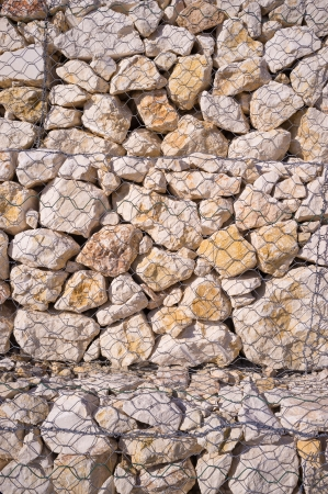 Detail take of a gabion retaining wall photo