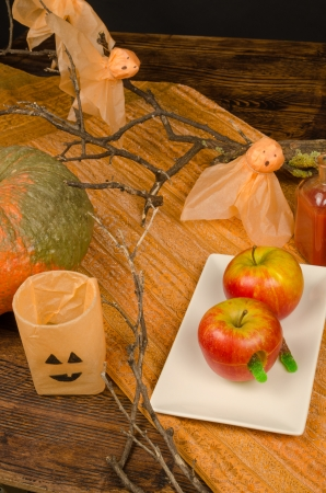 Rotten apple dessert, a Halloween idea for kid food photo