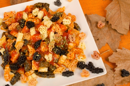 Pasta with Halloween related designs, a kid meal photo