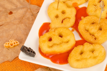 Halloween snack for children in spooky shapes photo