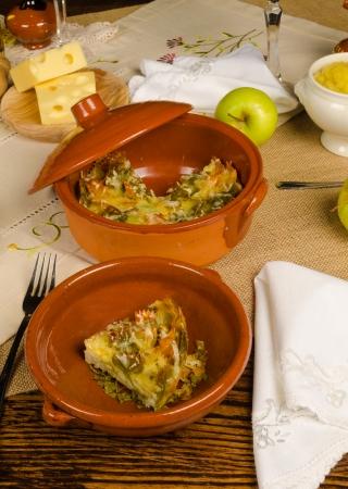 kugel: Traditional homemade kugel served on a festive table