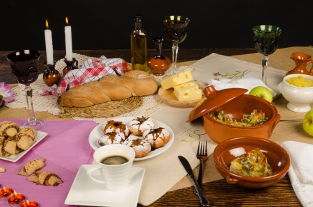 kugel: Festive Hanukkah table with an assortment of traditional food Stock Photo