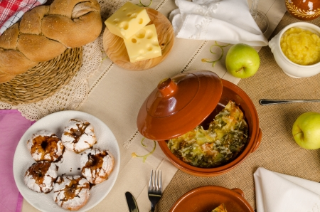 kugel: Full frame take of a table with  traditional Hanukkah Stock Photo