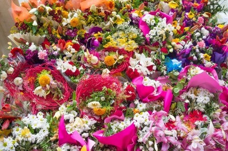 Full frame take of a festive flower arrangement