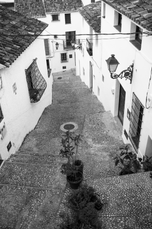 altea: Black and white take of  Altea old town streets