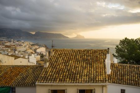 altea: Altea resort rooftops on a  stormy morning, Costa Blanca, Spain Stock Photo