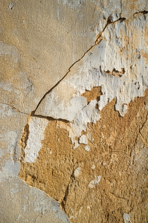 Full frame take of the cracked plaster on and adobe wall photo
