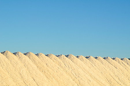 Huge piles of finished product at a salt mine