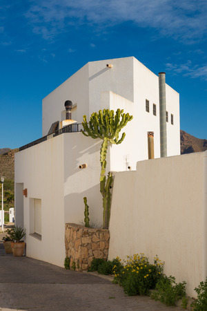 whitewashed: A traditional whitewashed Andalusian house exterior