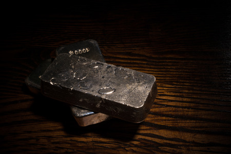 silver bars: A low key stilll life with several  silver bars