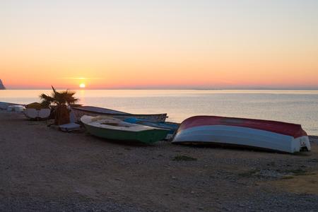 altea: Sunrise over Altea bay with fishing boats ashore, Costa Blanca, Spain