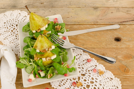 fruity salad: A portion of a fruity salad with cheese and walnuts Stock Photo