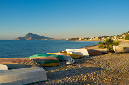 altea: Traditional fishing boats in a very Mediterranean setting, Altea bay early morning
