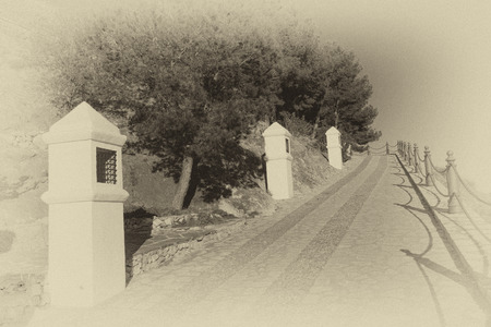 crucis: A via crucis in a vintage black and  white tak Stock Photo