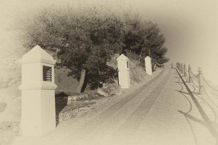 viacrucis: A via crucis in a vintage black and  white tak Stock Photo