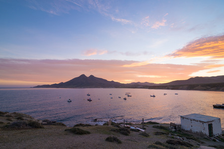 Isleta del Moro bay at dawn, Cabo de Gata, Andalusia photo