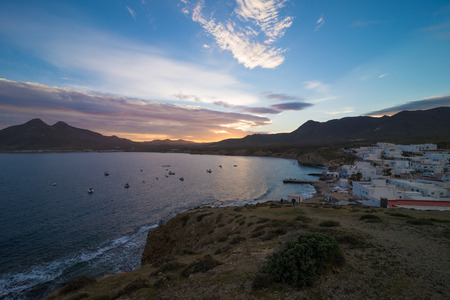 Andalusian fishing village under the light of sunset photo
