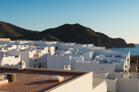blanco: Traditional whitewashed houses of an Andalusian village