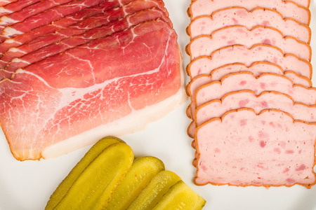 Ham and leberkaese, traditional German cold meat Stock Photo