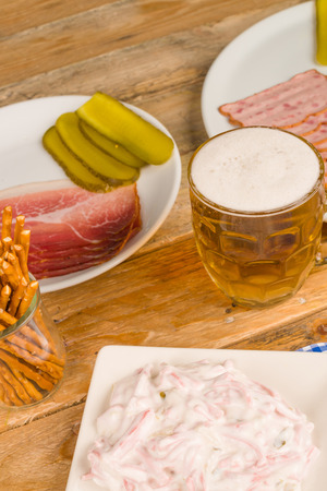 Still life with an assortment of  German snacks Stock Photo