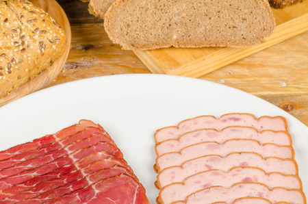 leberkaese: Cold meat and bread, taditional German  food