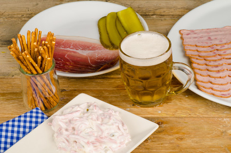 leberkaese: Assorted hearty snacks, traditional German cold meat