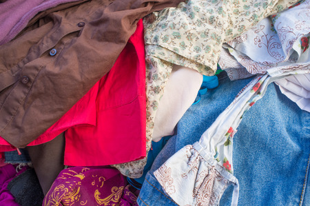 market stall:    Assorted of clothes in a market stall Stock Photo