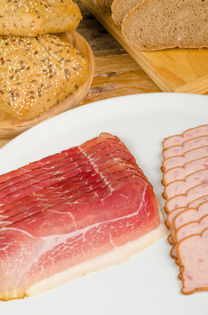 Cold meat and bread, taditional German  food
