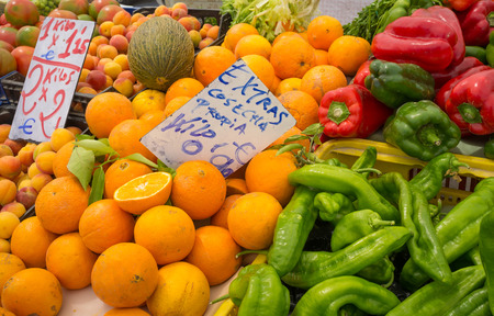 market stall: Fresh produce on a traditional street market stall Stock Photo