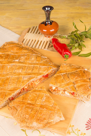A freshly baked empanada, homemade  food from nothern Spain Stock Photo