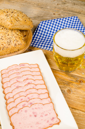 leberkaese: German cold meat snack served with whole wheat buns